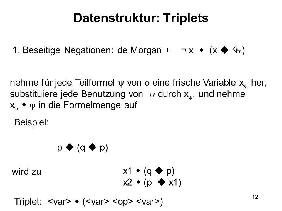 12 Datenstruktur: Triplets nehme für jede Teilformel von eine frische Variable x her, substituiere jede Benutzung von durch x, und nehme x in die Formelmenge auf 1.