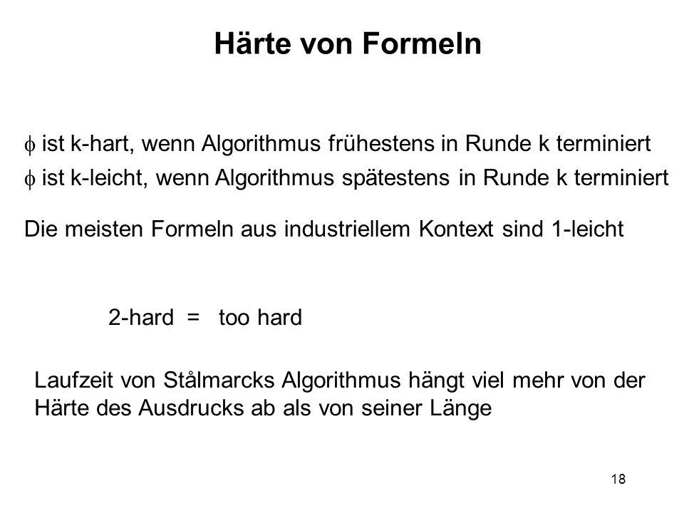 18 Härte von Formeln ist k-hart, wenn Algorithmus frühestens in Runde k terminiert Die meisten Formeln aus industriellem Kontext sind 1-leicht ist k-leicht, wenn Algorithmus spätestens in Runde k terminiert 2-hard = too hard Laufzeit von Stålmarcks Algorithmus hängt viel mehr von der Härte des Ausdrucks ab als von seiner Länge