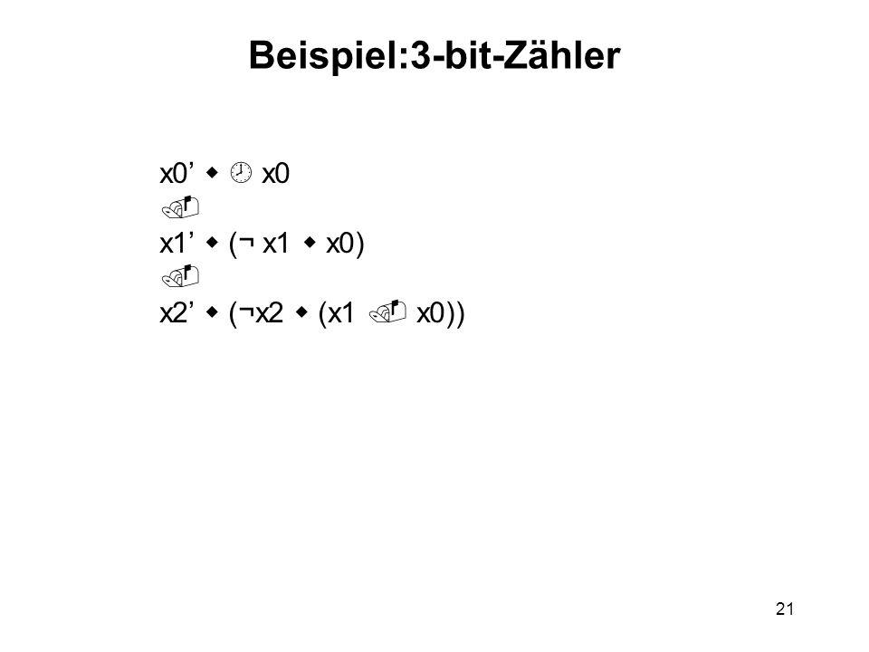 21 Beispiel:3-bit-Zähler x0 x1 (¬ x1 x0) x2 (¬x2 (x1 x0))