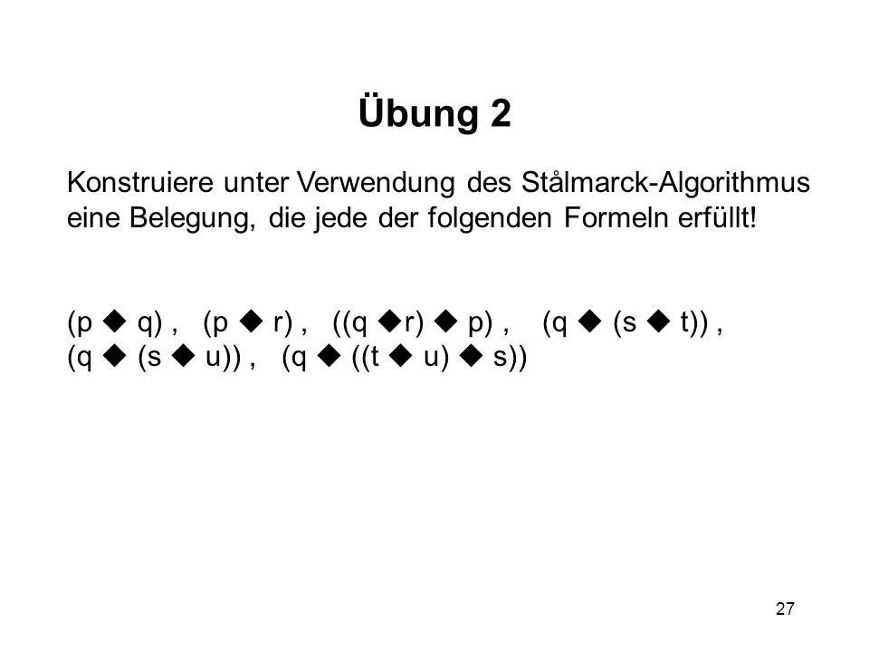 27 Übung 2 Konstruiere unter Verwendung des Stålmarck-Algorithmus eine Belegung, die jede der folgenden Formeln erfüllt! (p q), (p r), ((q r) p), (q (