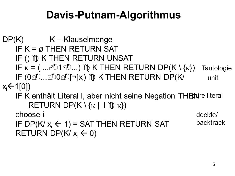 5 Davis-Putnam-Algorithmus DP(K) K – Klauselmenge IF K = ø THEN RETURN SAT IF () K THEN RETURN UNSAT IF = (...
