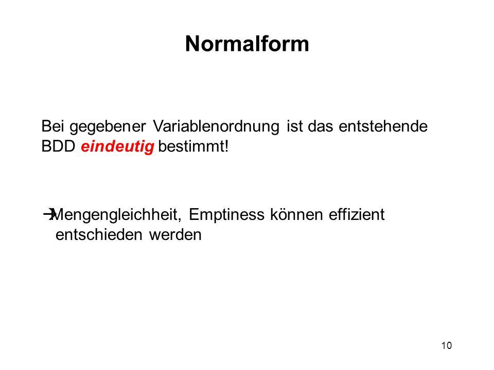 10 Normalform Bei gegebener Variablenordnung ist das entstehende BDD eindeutig bestimmt.