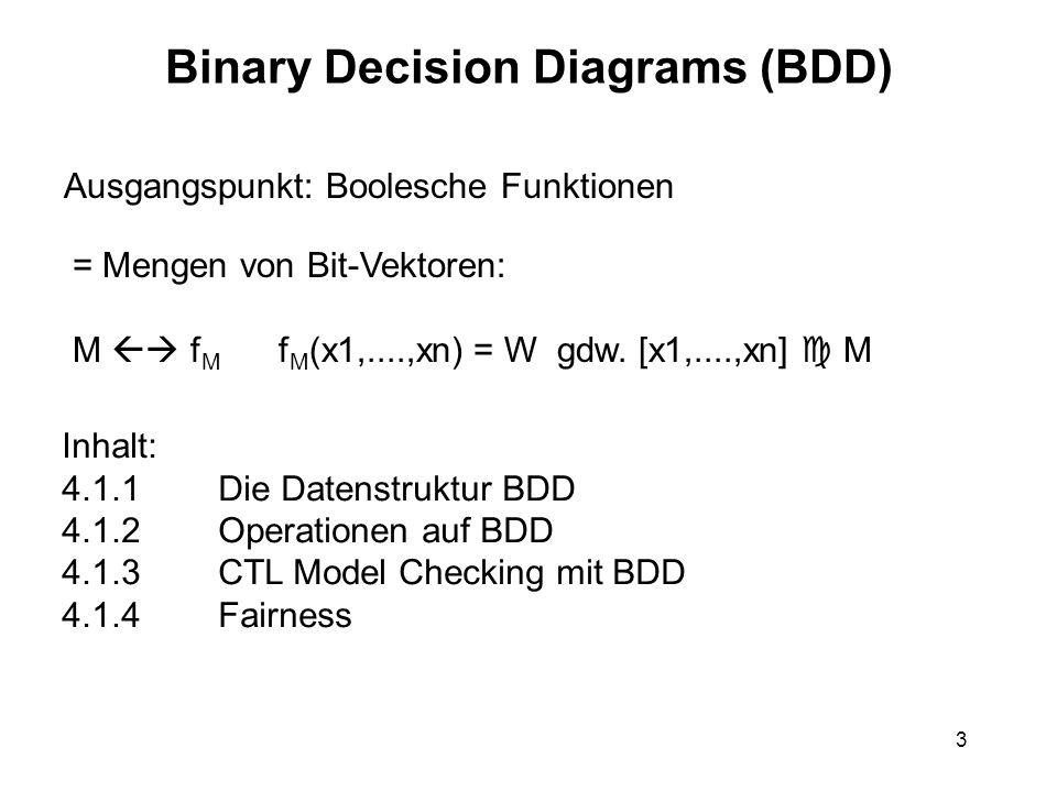 3 Binary Decision Diagrams (BDD) Ausgangspunkt: Boolesche Funktionen = Mengen von Bit-Vektoren: M f M f M (x1,....,xn) = W gdw.