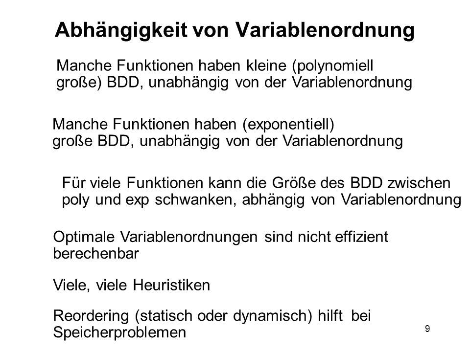 9 Abhängigkeit von Variablenordnung Manche Funktionen haben kleine (polynomiell große) BDD, unabhängig von der Variablenordnung Für viele Funktionen kann die Größe des BDD zwischen poly und exp schwanken, abhängig von Variablenordnung Optimale Variablenordnungen sind nicht effizient berechenbar Viele, viele Heuristiken Reordering (statisch oder dynamisch) hilft bei Speicherproblemen Manche Funktionen haben (exponentiell) große BDD, unabhängig von der Variablenordnung