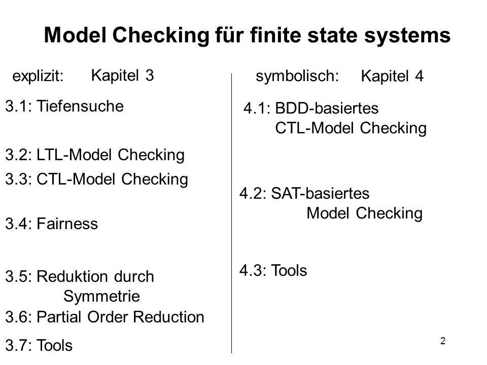 2 Model Checking für finite state systems explizit:symbolisch: 3.1: Tiefensuche 3.2: LTL-Model Checking 3.3: CTL-Model Checking 3.5: Reduktion durch S