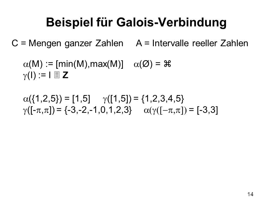 14 Beispiel für Galois-Verbindung C = Mengen ganzer Zahlen A = Intervalle reeller Zahlen (M) := [min(M),max(M)] (Ø) = (I) := I Z ({1,2,5}) = [1,5] ([1,5]) = {1,2,3,4,5} ([-, ]) = {-3,-2,-1,0,1,2,3} = [-3,3]