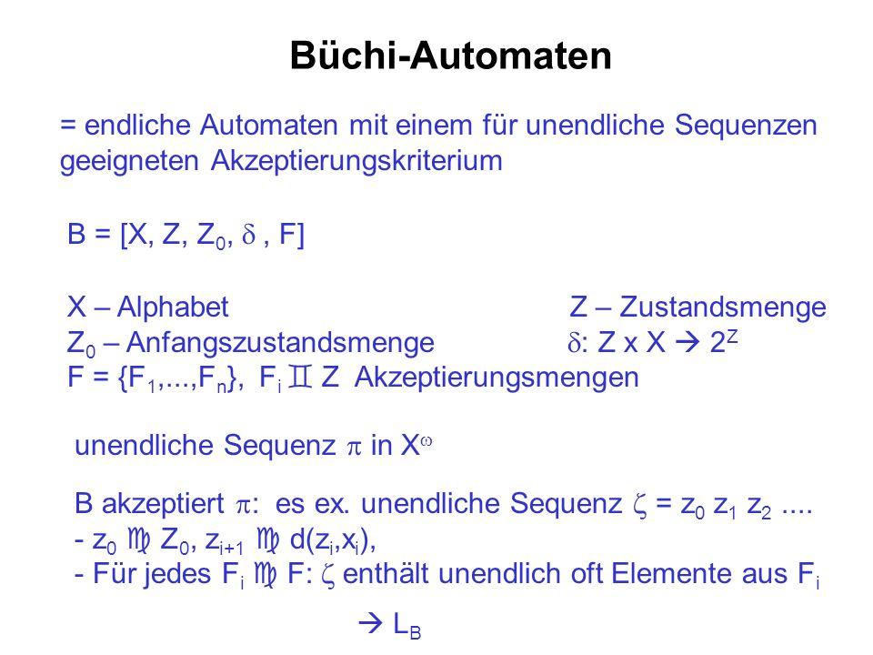 Büchi-Automaten = endliche Automaten mit einem für unendliche Sequenzen geeigneten Akzeptierungskriterium B = [X, Z, Z 0,, F] X – Alphabet Z – Zustand