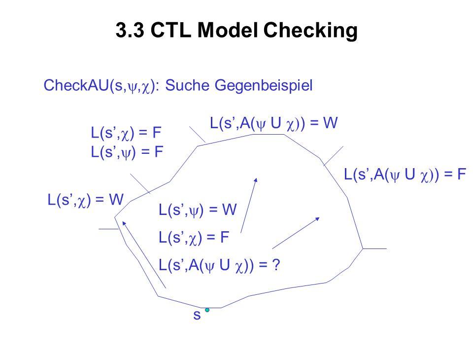 3.3 CTL Model Checking s CheckAU(s,, ): Suche Gegenbeispiel L(s, ) = W L(s, ) = F L(s,A( U )) = ? L(s, ) = W L(s, ) = F L(s,A( U ) = W L(s,A( U ) = F