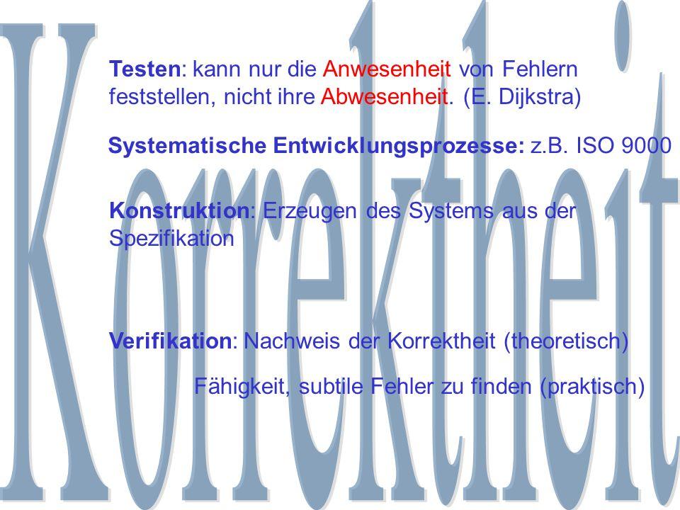 Testen: kann nur die Anwesenheit von Fehlern feststellen, nicht ihre Abwesenheit. (E. Dijkstra) Verifikation: Nachweis der Korrektheit (theoretisch) F