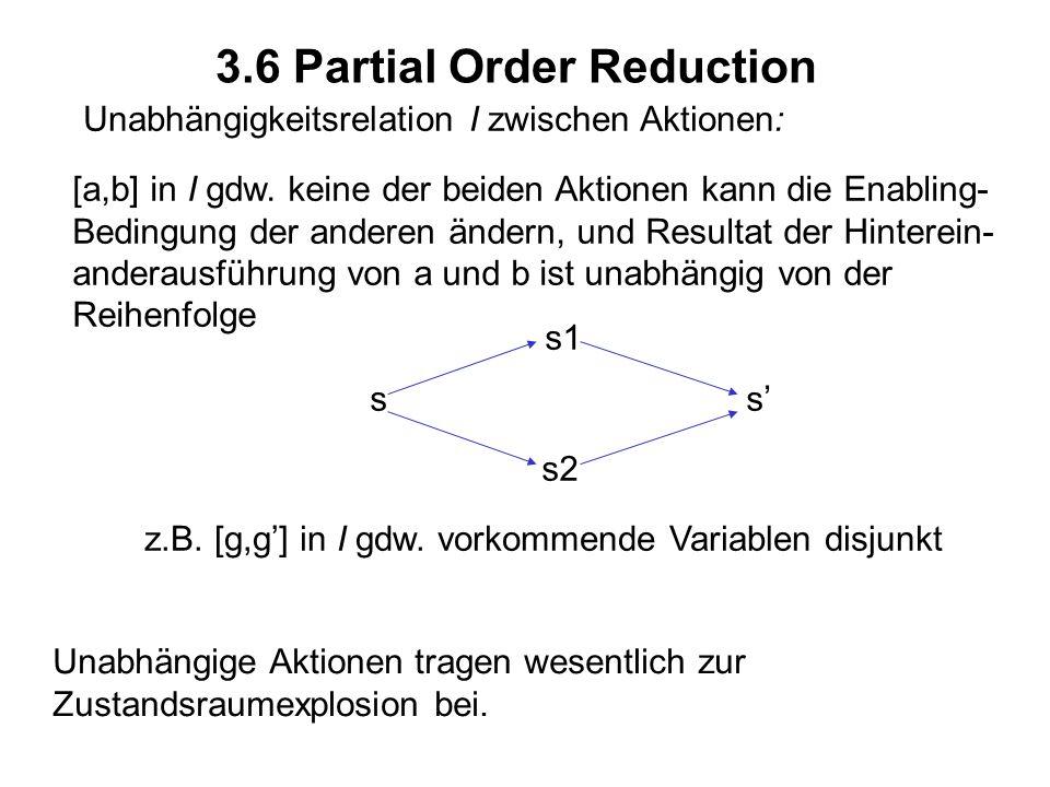 3.6 Partial Order Reduction Unabhängigkeitsrelation I zwischen Aktionen: [a,b] in I gdw. keine der beiden Aktionen kann die Enabling- Bedingung der an