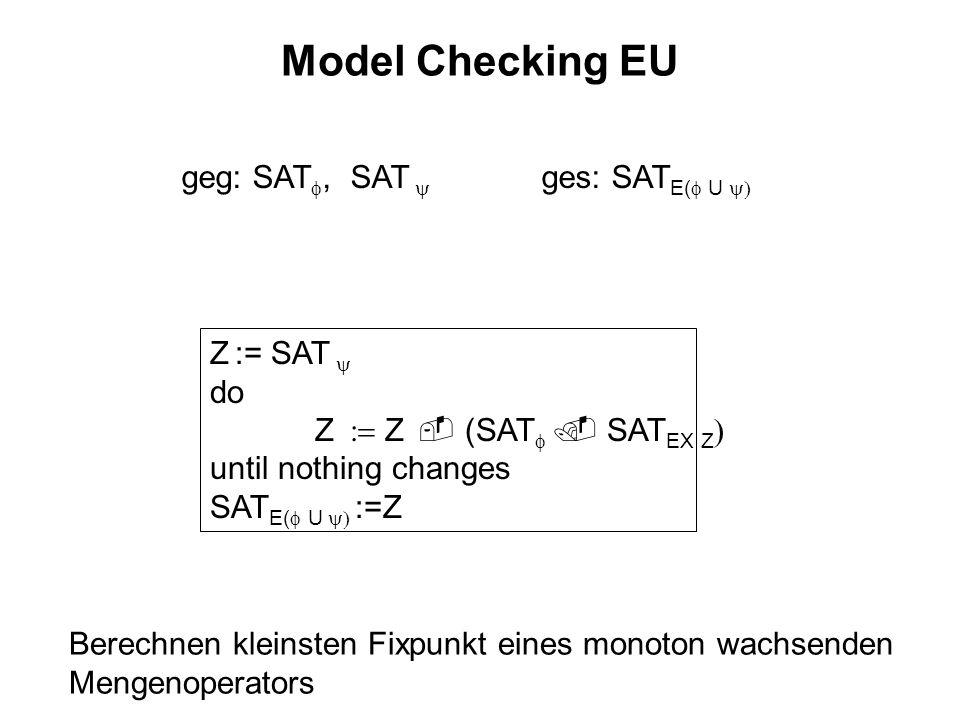 Model Checking EU geg: SAT, SAT ges: SAT E( U Z := SAT do Z Z (SAT SAT EX Z until nothing changes SAT E( U :=Z Berechnen kleinsten Fixpunkt eines mono