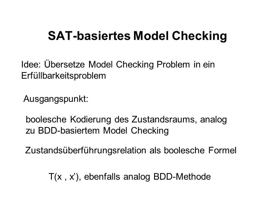 SAT-basiertes Model Checking Idee: Übersetze Model Checking Problem in ein Erfüllbarkeitsproblem Ausgangspunkt: boolesche Kodierung des Zustandsraums,