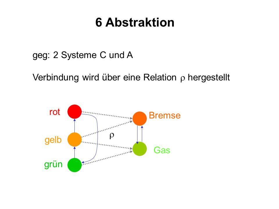 6 Abstraktion geg: 2 Systeme C und A Verbindung wird über eine Relation hergestellt rot gelb grün Gas Bremse