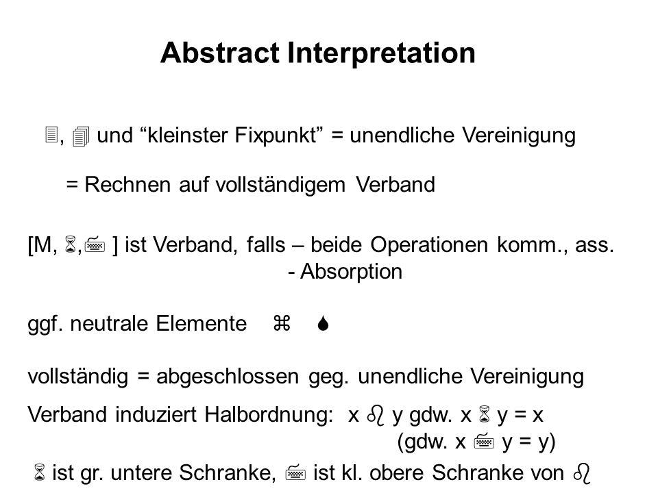 Abstract Interpretation, und kleinster Fixpunkt = unendliche Vereinigung = Rechnen auf vollständigem Verband [M,, ] ist Verband, falls – beide Operati