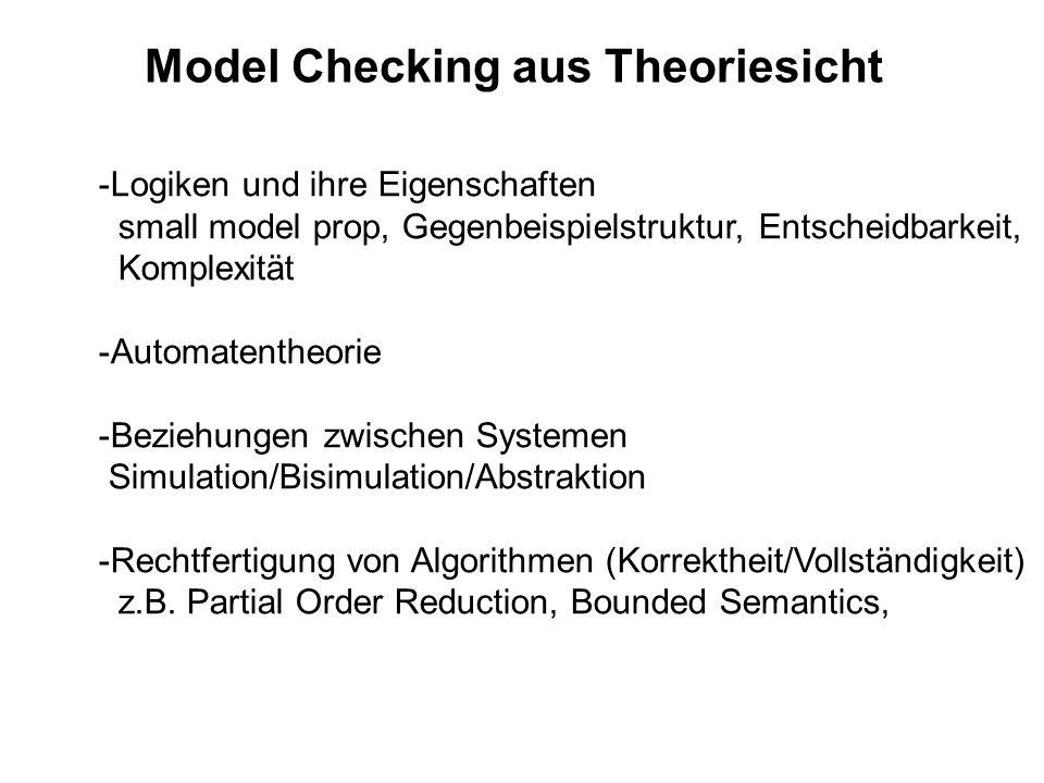 Model Checking aus Theoriesicht -Logiken und ihre Eigenschaften small model prop, Gegenbeispielstruktur, Entscheidbarkeit, Komplexität -Automatentheor