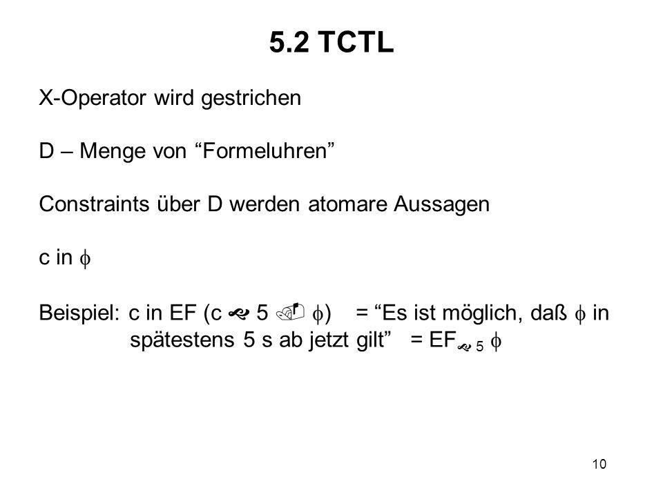 10 5.2 TCTL X-Operator wird gestrichen D – Menge von Formeluhren Constraints über D werden atomare Aussagen c in Beispiel: c in EF (c 5 ) = Es ist möglich, daß in spätestens 5 s ab jetzt gilt = EF 5