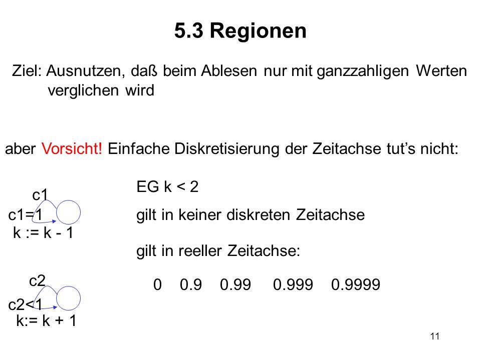 11 5.3 Regionen Ziel: Ausnutzen, daß beim Ablesen nur mit ganzzahligen Werten verglichen wird aber Vorsicht! Einfache Diskretisierung der Zeitachse tu