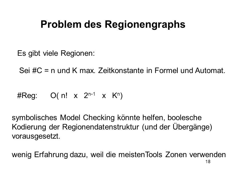 18 Problem des Regionengraphs Es gibt viele Regionen: Sei #C = n und K max. Zeitkonstante in Formel und Automat. #Reg: O( n! x 2 n-1 x K n ) symbolisc