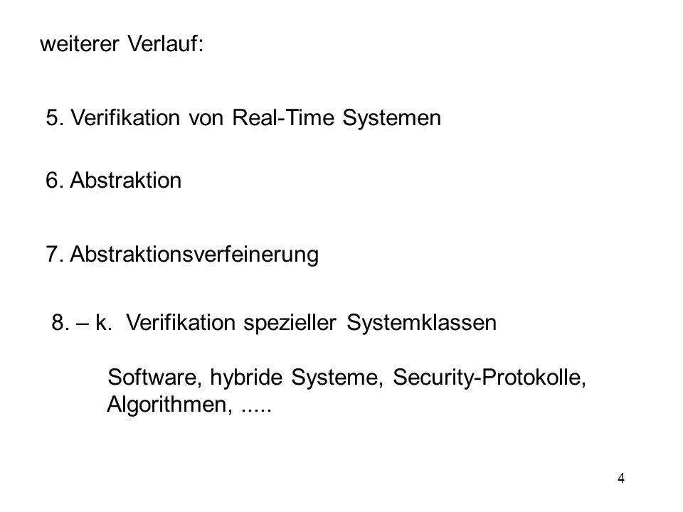 4 weiterer Verlauf: 5. Verifikation von Real-Time Systemen 6. Abstraktion 7. Abstraktionsverfeinerung 8. – k. Verifikation spezieller Systemklassen So