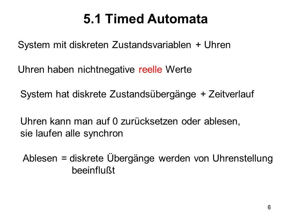 6 5.1 Timed Automata System mit diskreten Zustandsvariablen + Uhren Uhren haben nichtnegative reelle Werte System hat diskrete Zustandsübergänge + Zei