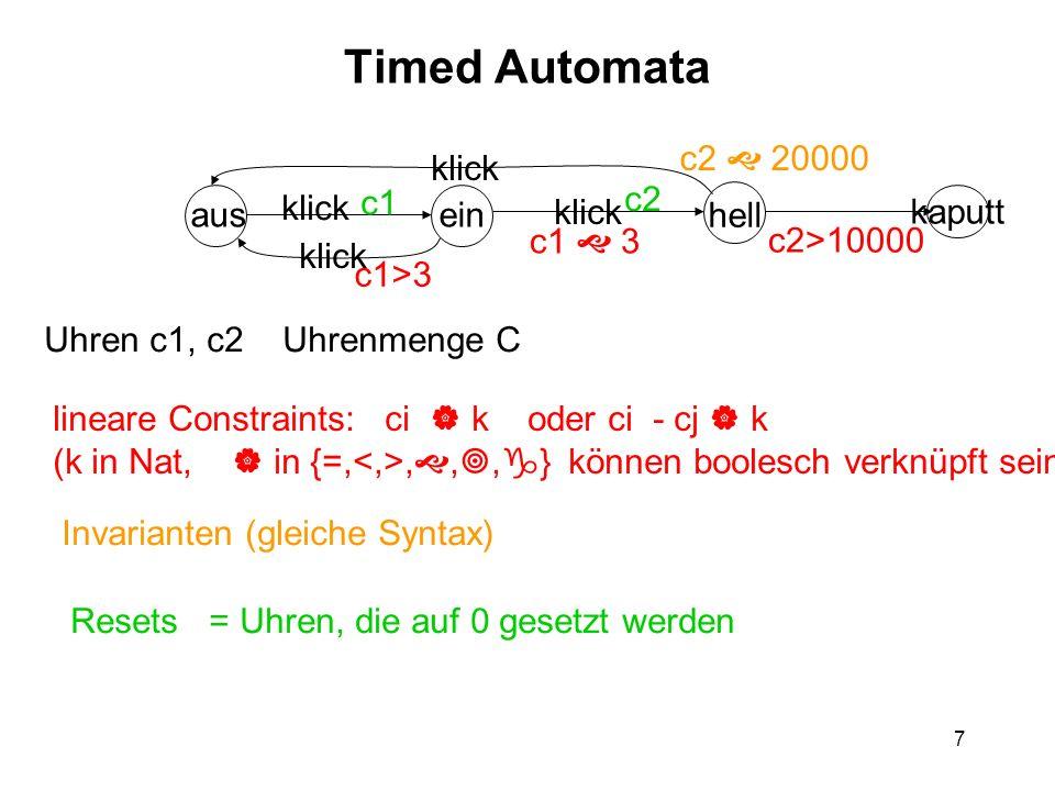 7 Timed Automata ausein hell kaputt klick Uhren c1, c2 Uhrenmenge C lineare Constraints: ci k oder ci - cj k (k in Nat, in {=,,,, } können boolesch verknüpft sein) c1>3 c1 3 c2>10000 Invarianten (gleiche Syntax) c2 20000 Resets = Uhren, die auf 0 gesetzt werden c1 c2