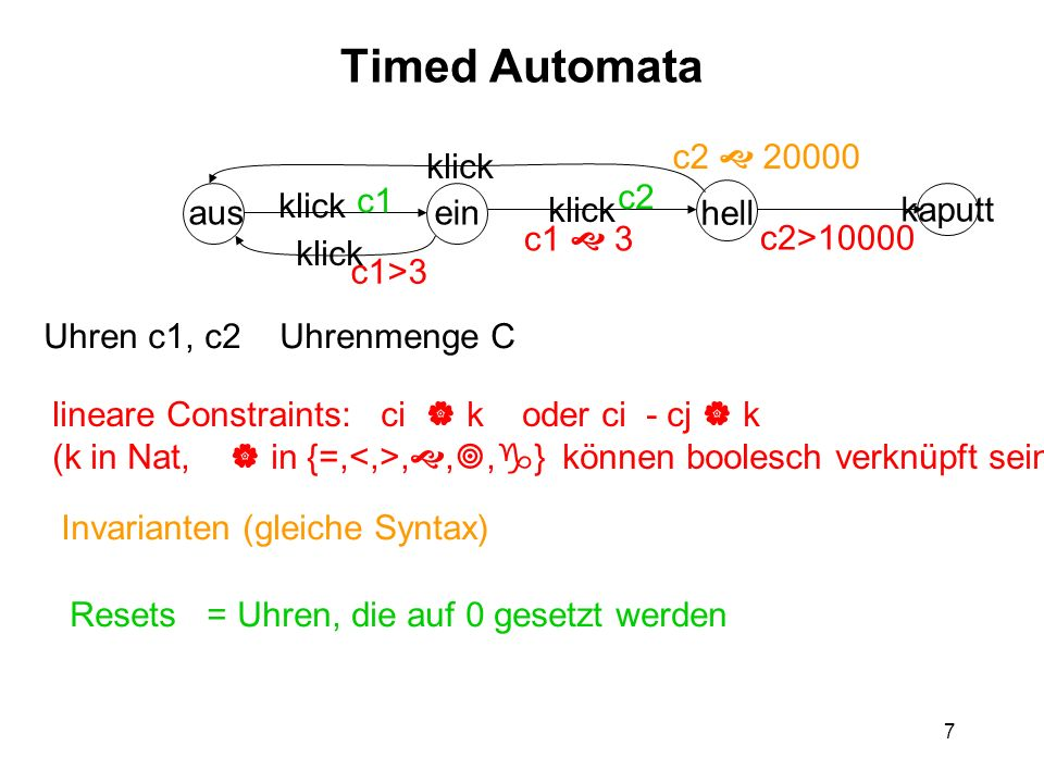 8 Semantik von Timed Automata = richtiges Transitionssystem Zustand = [d,v] d – diskreter Zustand v: C R + Zustandsübergänge: a)diskreter Übergang [d,v] [d,v] d d im Automat, v erfüllt Constraint an d d, 0, falls c in Resetmenge von d d v(c) = v(c), sonst v erfüllt Invariante in d b) Zeitverlauf [d,v] [d,v] es gibt ein t 0: v(c) = v(c) + t für alle c Jedes v+t (0 < t t) erfüllt Invariante in d