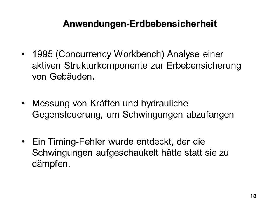 18Anwendungen-Erdbebensicherheit 1995 (Concurrency Workbench) Analyse einer aktiven Strukturkomponente zur Erbebensicherung von Gebäuden.