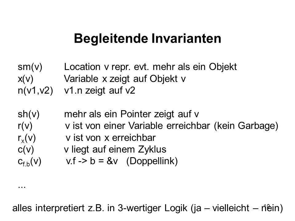 10 Begleitende Invarianten sm(v) Location v repr. evt. mehr als ein Objekt x(v) Variable x zeigt auf Objekt v n(v1,v2) v1.n zeigt auf v2 sh(v) mehr al