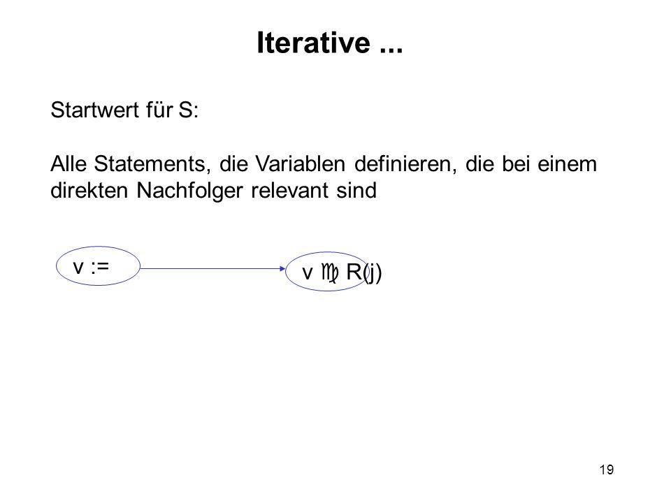 19 Iterative... Startwert für S: Alle Statements, die Variablen definieren, die bei einem direkten Nachfolger relevant sind v := v R(j)