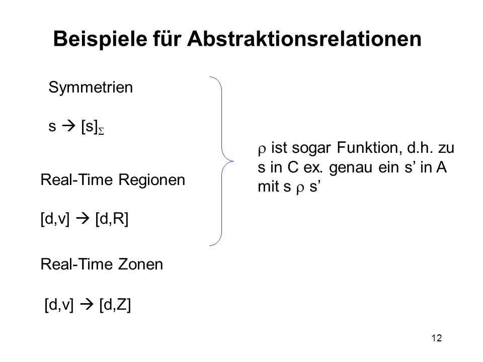 12 Beispiele für Abstraktionsrelationen Symmetrien s [s] Real-Time Regionen [d,v] [d,R] Real-Time Zonen [d,v] [d,Z] ist sogar Funktion, d.h.