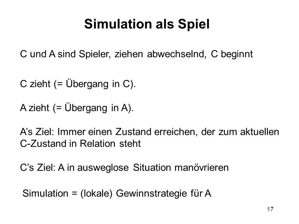 17 Simulation als Spiel C und A sind Spieler, ziehen abwechselnd, C beginnt C zieht (= Übergang in C).