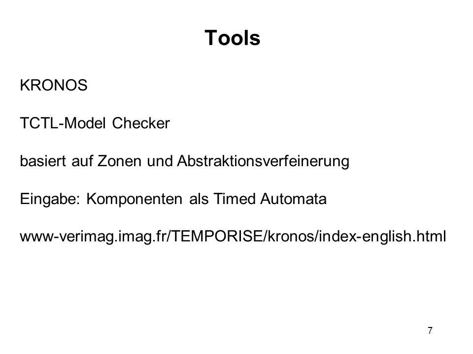 7 Tools KRONOS TCTL-Model Checker basiert auf Zonen und Abstraktionsverfeinerung Eingabe: Komponenten als Timed Automata www-verimag.imag.fr/TEMPORISE/kronos/index-english.html