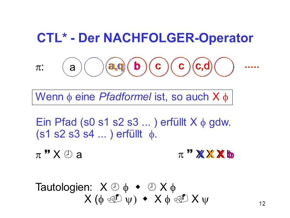12 CTL* - Der NACHFOLGER-Operator : a a,qbccc,d.....