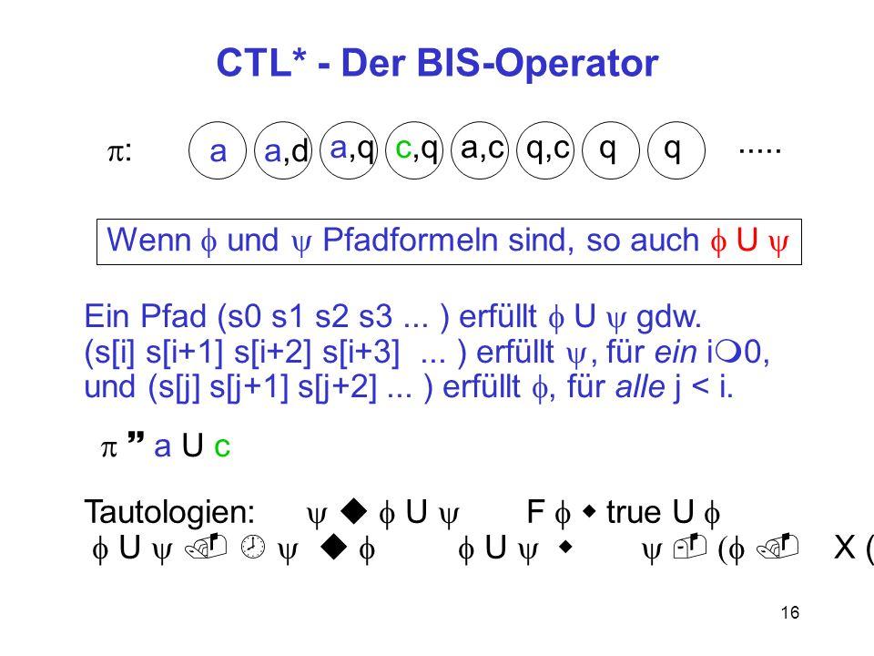 16 CTL* - Der BIS-Operator : a a,qc,qa,cq,c q.....