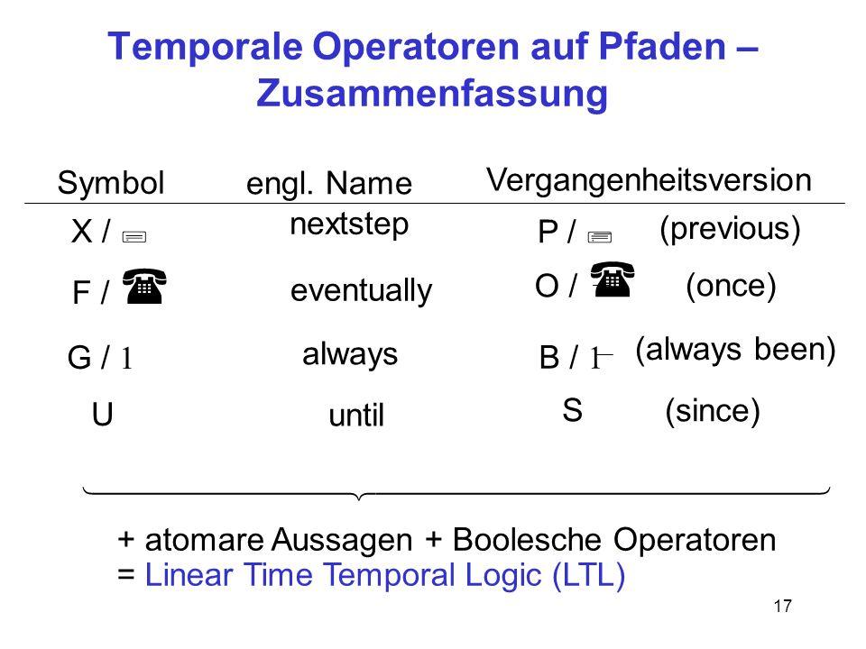 17 Temporale Operatoren auf Pfaden – Zusammenfassung X / ; G / 1 U Symbol engl.