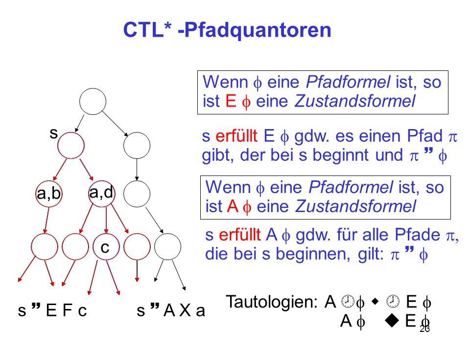 23 CTL* -Pfadquantoren s Wenn eine Pfadformel ist, so ist E eine Zustandsformel s erfüllt E gdw.
