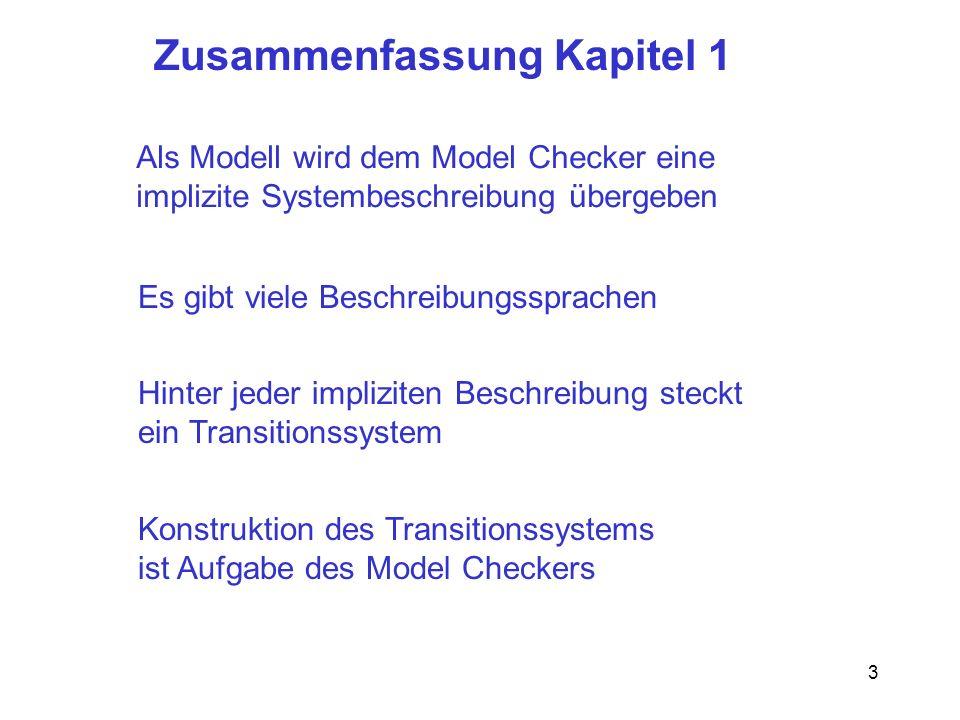 3 Konstruktion des Transitionssystems ist Aufgabe des Model Checkers Als Modell wird dem Model Checker eine implizite Systembeschreibung übergeben Hinter jeder impliziten Beschreibung steckt ein Transitionssystem Zusammenfassung Kapitel 1 Es gibt viele Beschreibungssprachen
