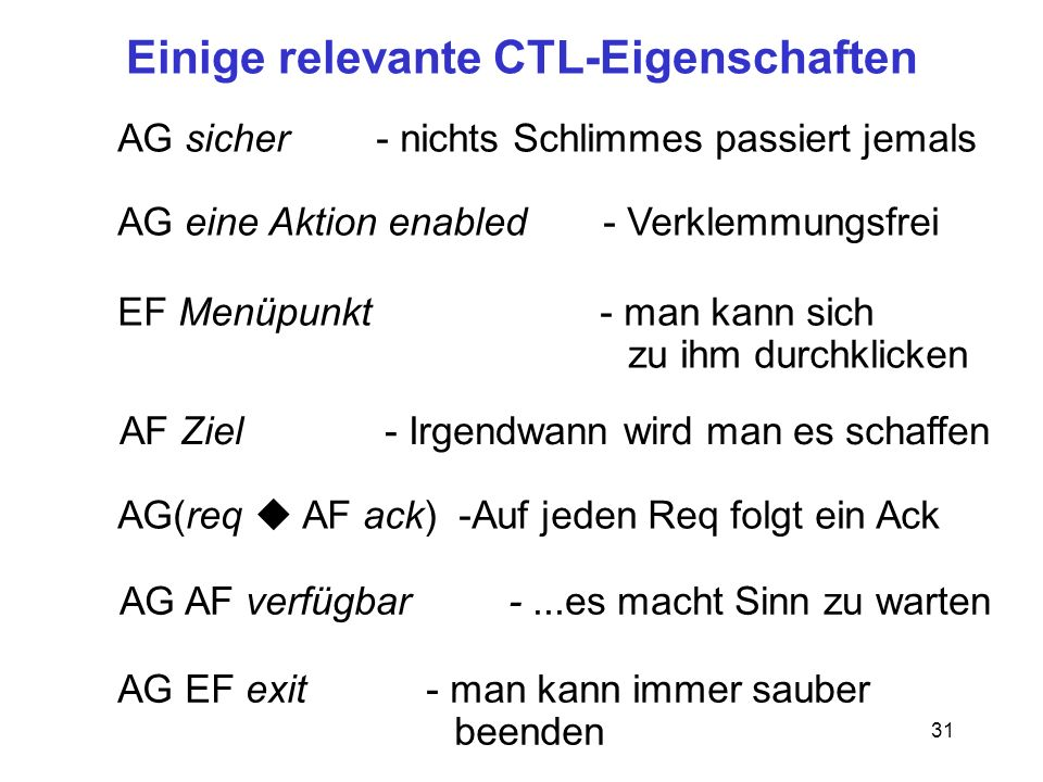 31 Einige relevante CTL-Eigenschaften AG sicher - nichts Schlimmes passiert jemals AG eine Aktion enabled - Verklemmungsfrei AF Ziel - Irgendwann wird man es schaffen EF Menüpunkt - man kann sich zu ihm durchklicken AG(req u AF ack) -Auf jeden Req folgt ein Ack AG AF verfügbar -...es macht Sinn zu warten AG EF exit - man kann immer sauber beenden