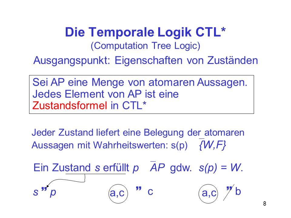 8 Die Temporale Logik CTL* (Computation Tree Logic) Ausgangspunkt: Eigenschaften von Zuständen Sei AP eine Menge von atomaren Aussagen.