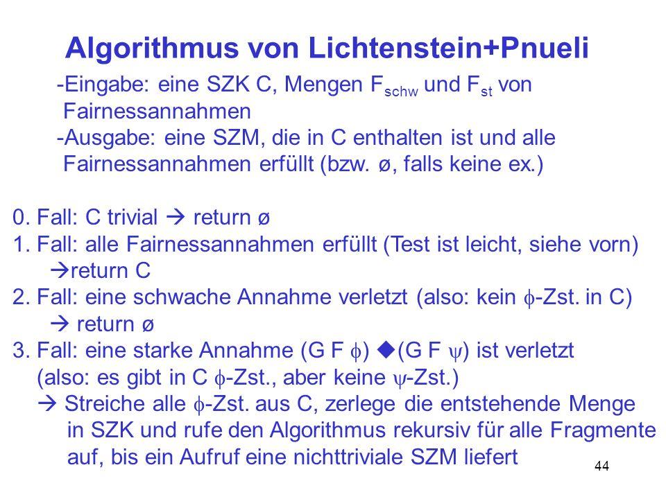 44 Algorithmus von Lichtenstein+Pnueli -Eingabe: eine SZK C, Mengen F schw und F st von Fairnessannahmen -Ausgabe: eine SZM, die in C enthalten ist und alle Fairnessannahmen erfüllt (bzw.