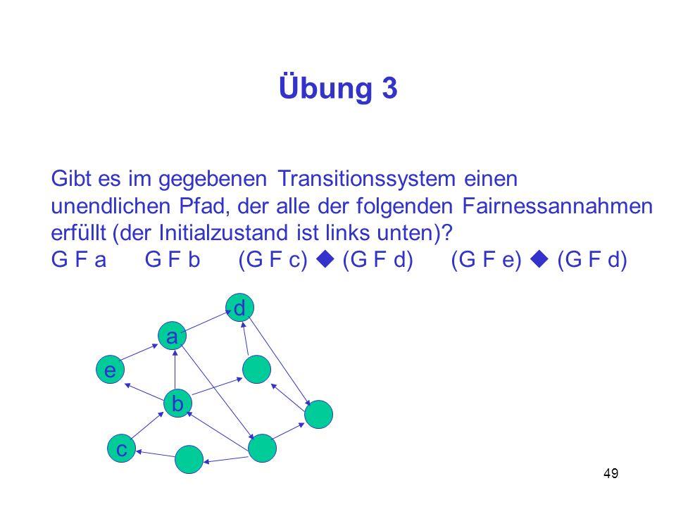 49 Übung 3 Gibt es im gegebenen Transitionssystem einen unendlichen Pfad, der alle der folgenden Fairnessannahmen erfüllt (der Initialzustand ist links unten).