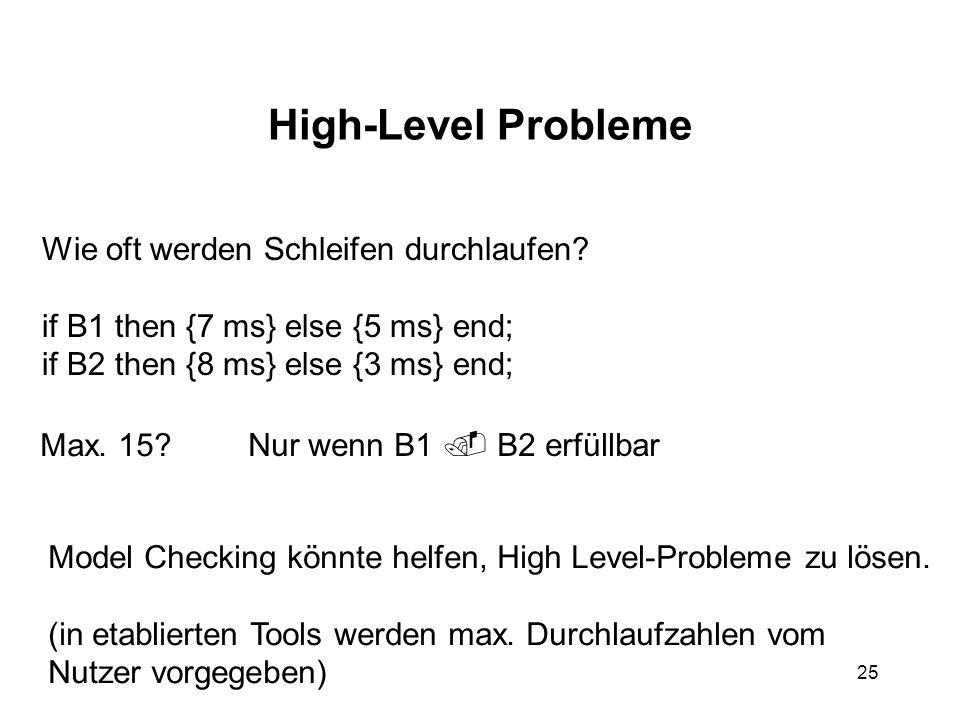 25 High-Level Probleme Wie oft werden Schleifen durchlaufen.