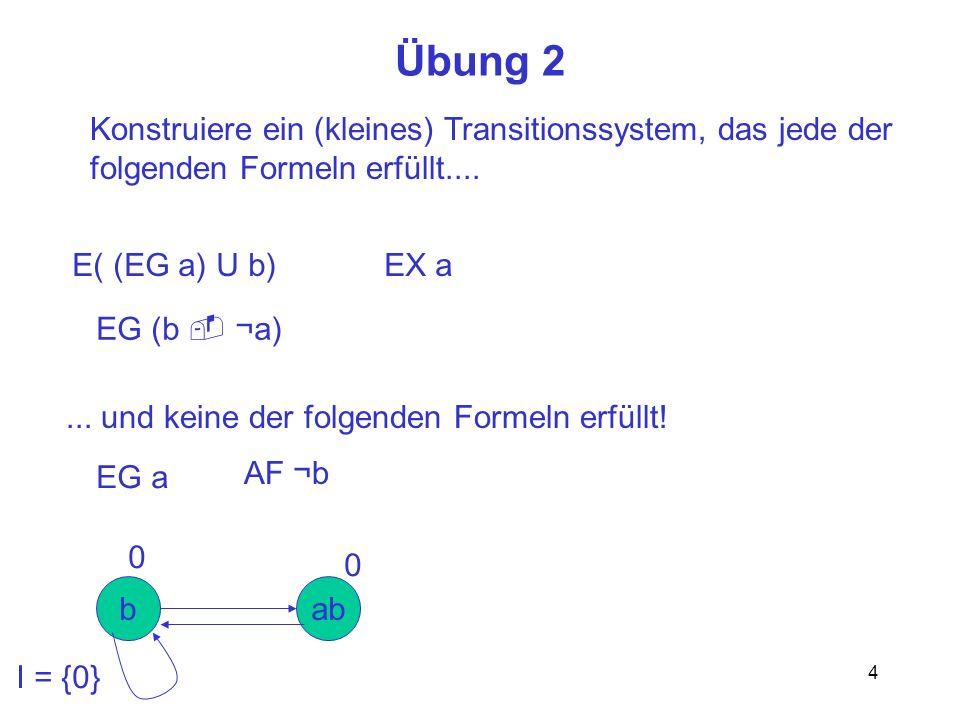 4 Übung 2 Konstruiere ein (kleines) Transitionssystem, das jede der folgenden Formeln erfüllt....... und keine der folgenden Formeln erfüllt! E( (EG a