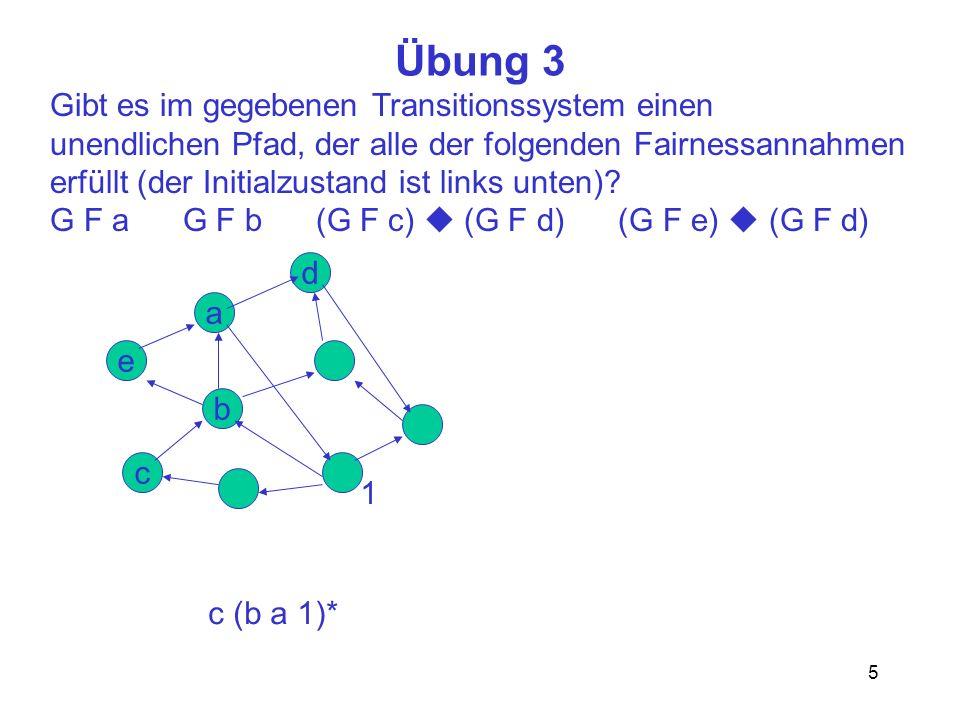 5 Übung 3 Gibt es im gegebenen Transitionssystem einen unendlichen Pfad, der alle der folgenden Fairnessannahmen erfüllt (der Initialzustand ist links unten).