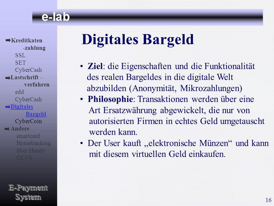 Digitales Bargeld Ziel: die Eigenschaften und die Funktionalität des realen Bargeldes in die digitale Welt abzubilden (Anonymität, Mikrozahlungen) Phi