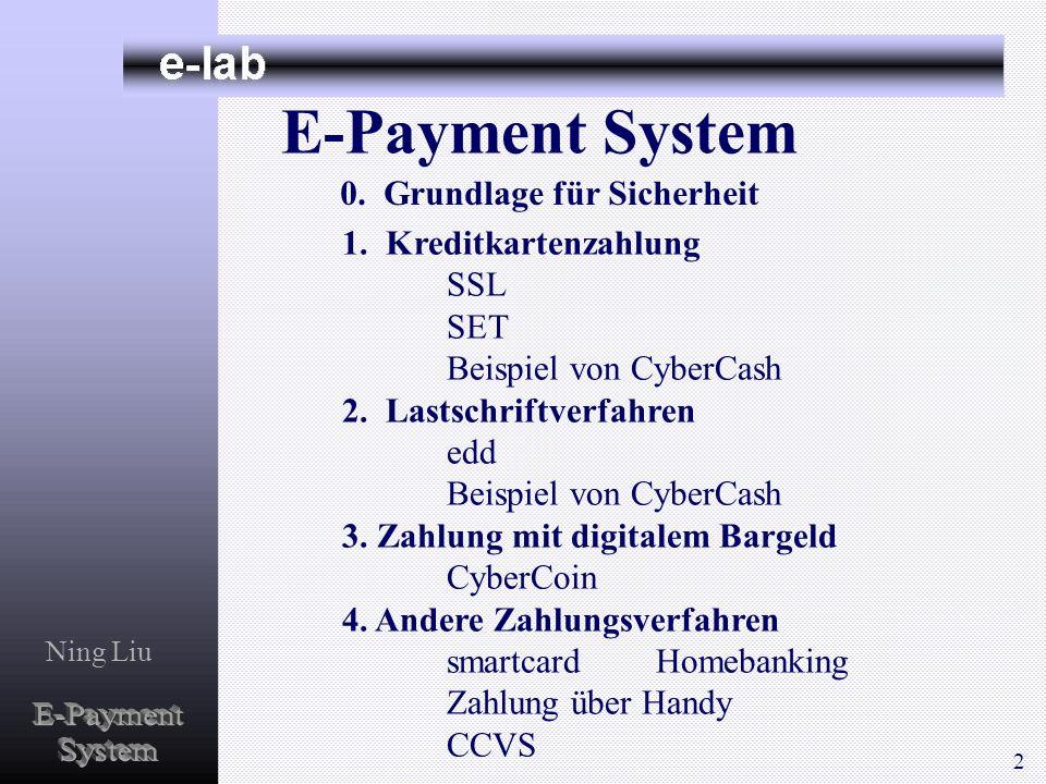 Ning Liu E-Payment System 1. Kreditkartenzahlung SSL SET Beispiel von CyberCash 2. Lastschriftverfahren edd Beispiel von CyberCash 3. Zahlung mit digi