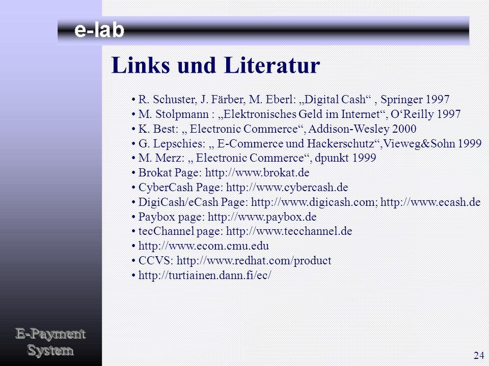 Links und Literatur R. Schuster, J. Färber, M. Eberl: Digital Cash, Springer 1997 M. Stolpmann : Elektronisches Geld im Internet, OReilly 1997 K. Best