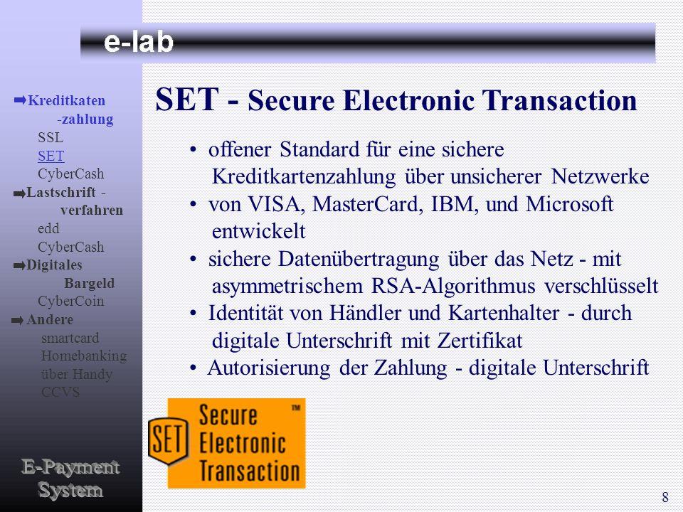 SET - Secure Electronic Transaction offener Standard für eine sichere Kreditkartenzahlung über unsicherer Netzwerke von VISA, MasterCard, IBM, und Mic