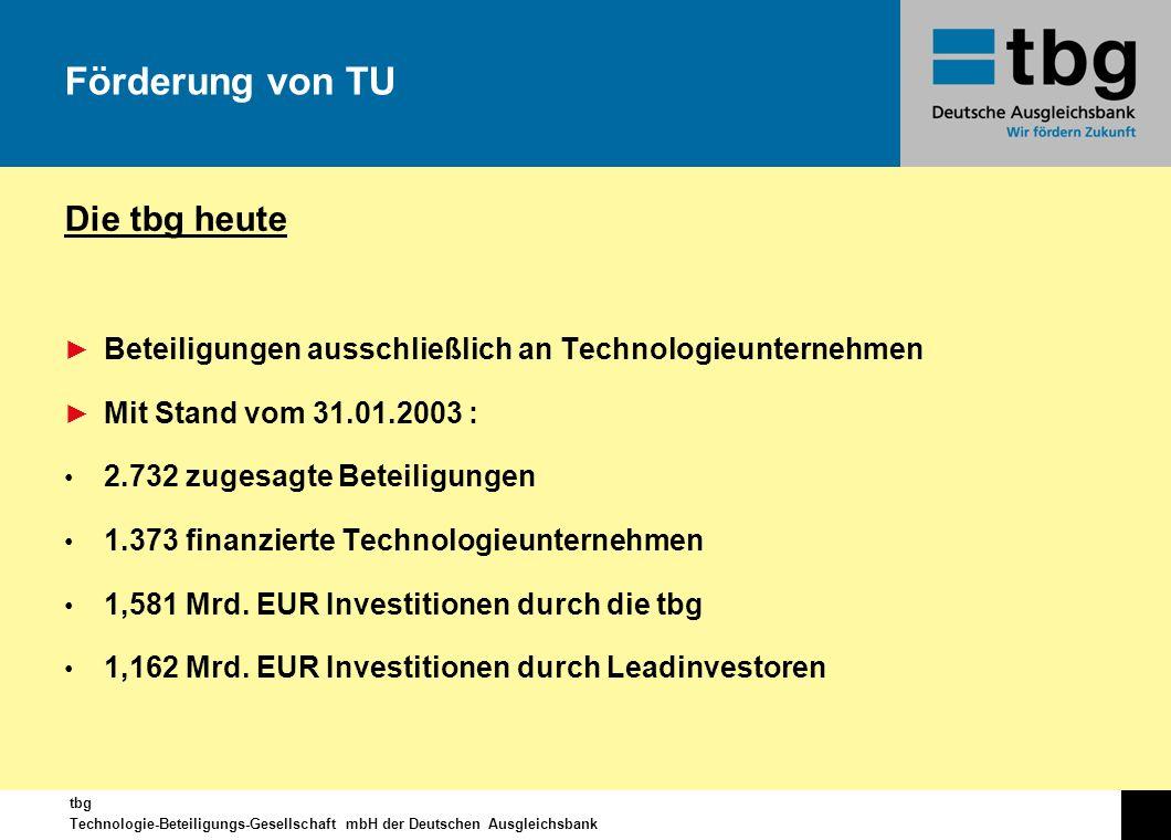 tbg Technologie-Beteiligungs-Gesellschaft mbH der Deutschen Ausgleichsbank Die tbg heute Beteiligungen ausschließlich an Technologieunternehmen Mit St