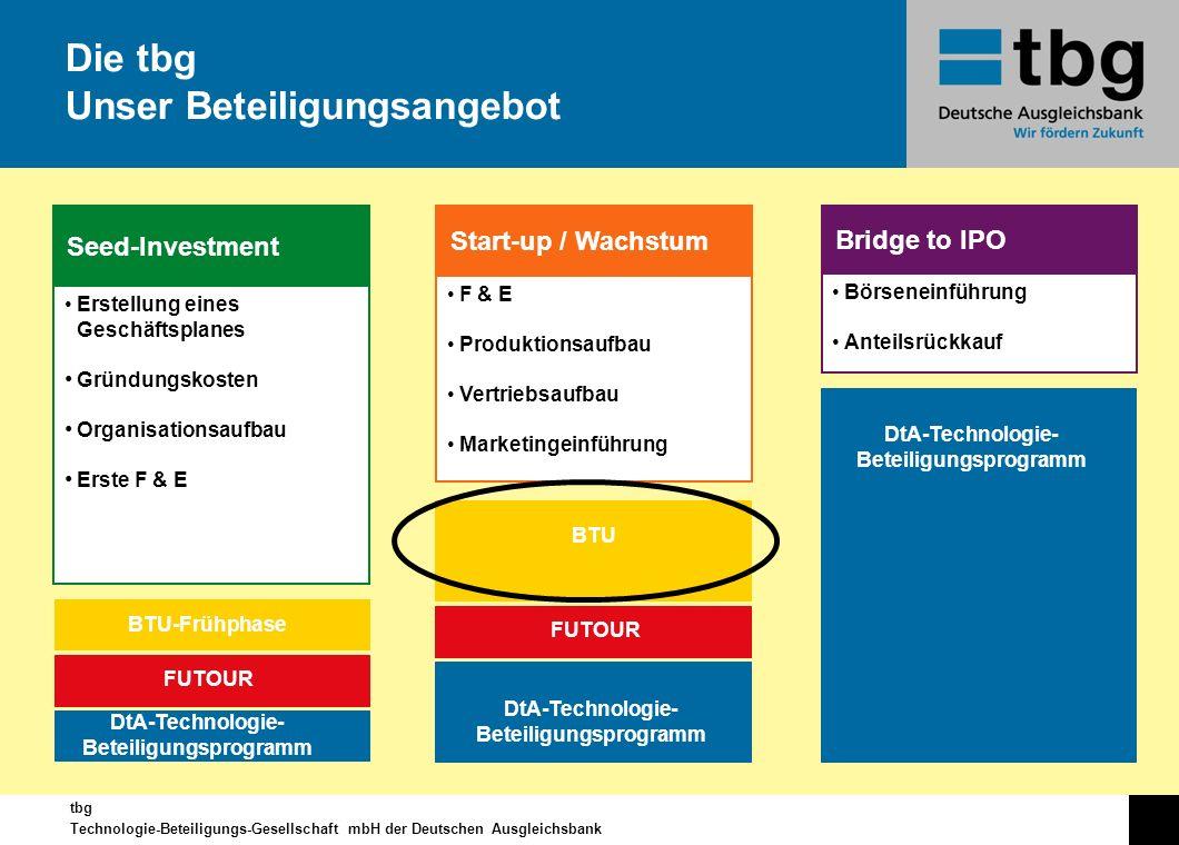 tbg Technologie-Beteiligungs-Gesellschaft mbH der Deutschen Ausgleichsbank Die tbg Unser Beteiligungsangebot BTU-Frühphase FUTOUR DtA-Technologie- Bet